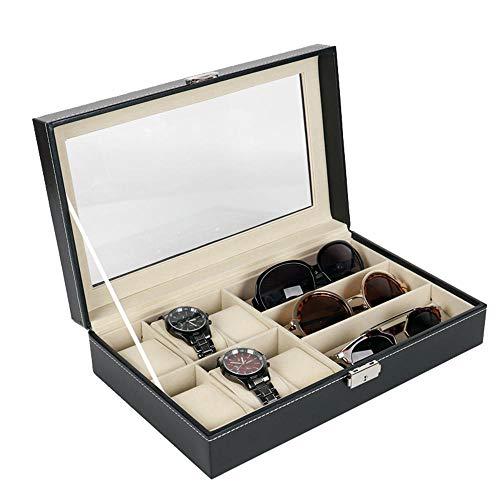 FIONAT Schmuckkästchen Hochwertiges 6-Bit-Uhrengehäuse Aus Pu-Leder Mit 3-Augen-Sonnenbrillen Und Transparenter Display-Aufbewahrungsbox - Sonnenbrille Und Uhrengehäuse