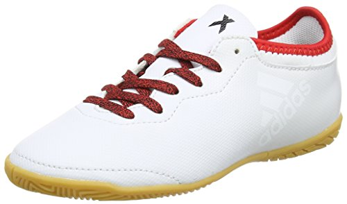 adidas X Tango 16.3 In, Chaussures de Football Mixte Enfant Blanc (Ftwr White / Ftwr White / Red)