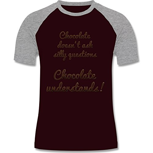 Küche - Chocolate understands! - zweifarbiges Baseballshirt für Männer Burgundrot/Grau meliert