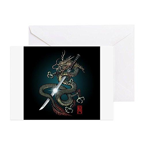 CafePress-Drachen katana01-Grußkarte, Note Karte, Geburtstagskarte, innen blanko, matt - Shogun Tattoo