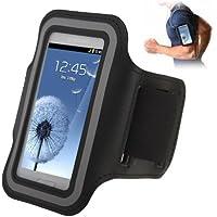 TechExpert Brassard sport tour de bras noir pour Samsung Galaxy SIII mini/i8190, Galaxy Trend Duos/S7562 idéal pour les sportifs, course à pied ou salle de sport avec pochette pour clés
