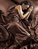 Satin, Schokoladenbraun, 6-teilig Bettwäsche-Set Spannbetttuch für King Size Bett