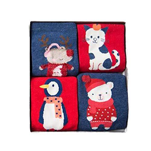 Hibote 4 paia/lotto confezione regalo bambini ragazze ragazzi carino 3d cartoon animali calze cotone per bambini moda calze natale