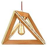 EYLM Pendelleuchte Pendellampe aus Holz Hängeleuchte Deckenleuchte für Esstisch Schreibtisch Wohnzimmer Bar Schlafzimmer