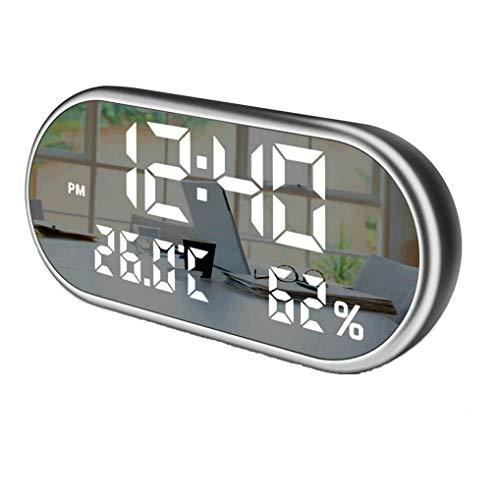 GuDoQi Digitaler Wecker Doppel USB Anschlüsse Temperatur Und Feuchtigkeitsborduhr 3 Weckzeiten 6.5 Inch Spiegeloberfläche 3 Stufen Helligkeitskontrolle Für Schlafzimmer, Kinderzimmer, Schreibtisch
