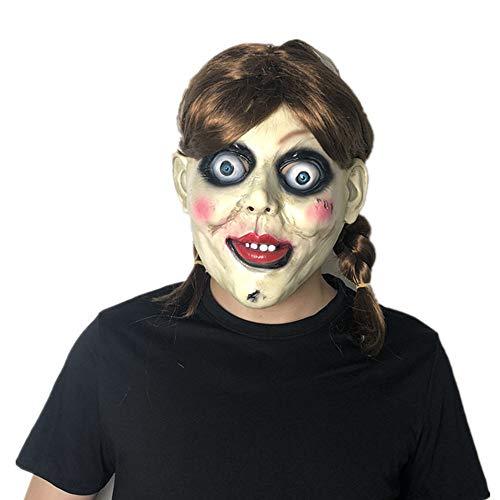 Annabelle Kostüm Maske - TOOcsj Halloween Maske Karneval Maske Horror Requisiten Maske Film Charakter Cosplay Unheimlich Horror Ghost Baby Annabelle