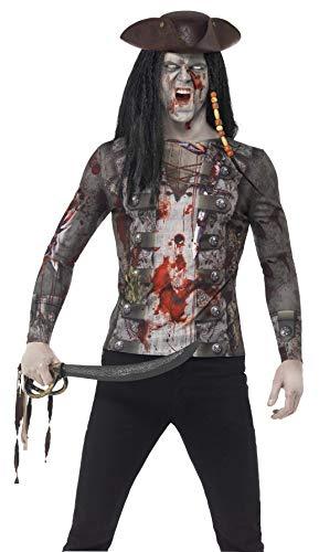 Smiffys 45564M - Herren Zombie Piraten T-Shirt, Größe: M, grün