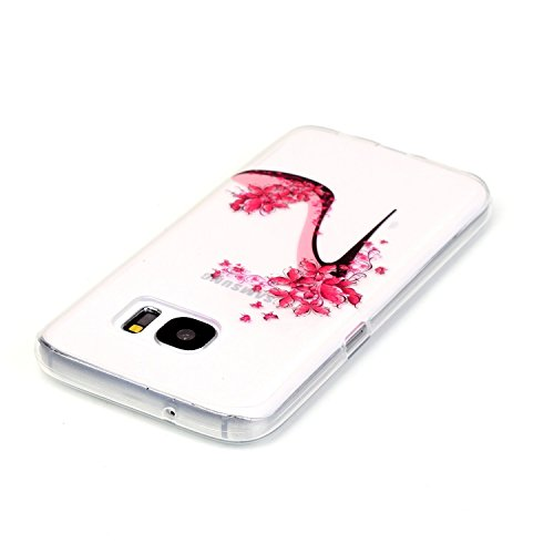 Galaxy S7 Hülle, Galaxy S7 Silikon Hülle Tasche Handyhülle [Kratzfeste, Scratch-Resistant], SainCat TPU Schutzhülle Ultradünn Weich Flexibel Silikonhülle Bumper Case Transparentes Silikon Schutzhülle  Blumen High Heels