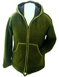 Green Handknitted Fleece lined Jacket - 100% Wool , Fair Trade