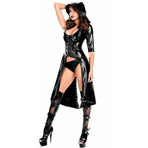 012765Tastschalter Schwarz Sexy Frauen Latex Catsuit mit Kapuze Windbreaker Umhang (Wet-look Spandex-stoff)