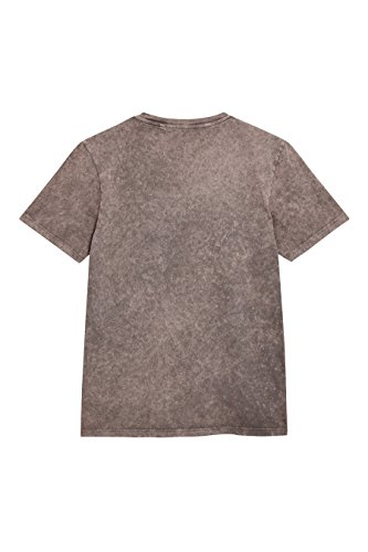next Herren T Shirt Acid Waschung Kurzarm Rundhals Tiger Print Normale Passform Taupe