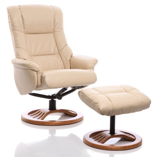 "Leder Relaxsessel, Liegesessel ""The Mandalay"" mit Hocker, Creme"