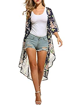 Meaneor Kimono Gasa Chaqueta Mujeres Dobladillo Asimétrico Impresión Floral Pura