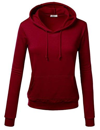 Sentao Femme Mode Automne Tops à Manches Longues Sweat-shirt Sweats à capuche Chemisiers Pullover Vin Rouge