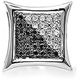 0,08quilates (de quilate) 14ct oro blanco redondo blanco y negro diamante Micro Pave Kite stud pendientes (sólo 1pieza)