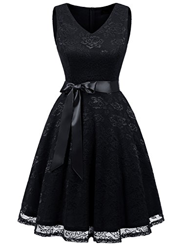 IVNIS RS90025 Damen Ärmellos Vintage Spitzen Abendkleider Cocktail Party Floral Kleid Black L (Floral Vintage-gürtel)