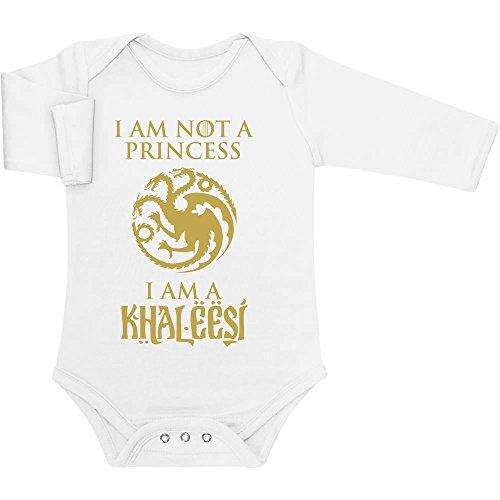 I'm not a Princess, I'm a Khaleesi Geschenk kleine Fans Baby Langarm Body 62/68 (3-6M) (Khaleesi Aus)