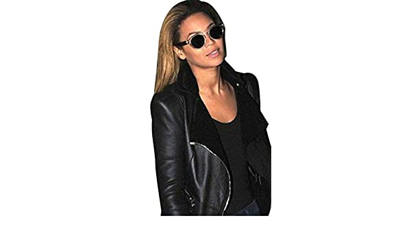 68d23975 Beyonce Balmain Shearling Lined Womens Black Biker Leather Jacket - Black -  XXX-Large-26 US: Amazon.co.uk: Clothing