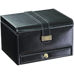 Dulwich Designs 'Heritage' Classic Premium Leather 3 Piece Watch Box, Executive Black with Grey Suedette Lining.