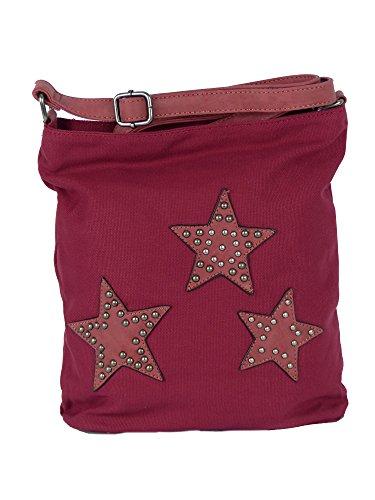 Canvas Tasche aufgenähte Sterne und Nieten - Damen Mädchen Teenager Umhängetasche - Maße ohne Schulterriemen 27 x 30 cm Brombeere