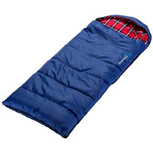 skandika Dundee Junior Kinder-Schlafsack 175x70cm komfortable Deckenform kuscheliges Baumwoll-Flanell-Innenfutter wasserabweisendes Außenmaterial (blau)