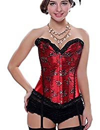 cdfde2a3a996e Beverla Vintage Brocade Lace up Boned Corset Bustier Top Shapewear with  Suspenders