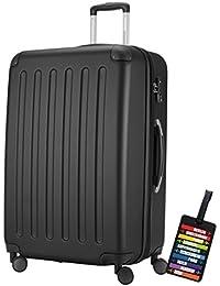 Hauptstadtkoffer® Valigia (128 litri) con un lucchetto TSA Seria SPREE (Colore Nero con 1 ciondolo per la valigia)