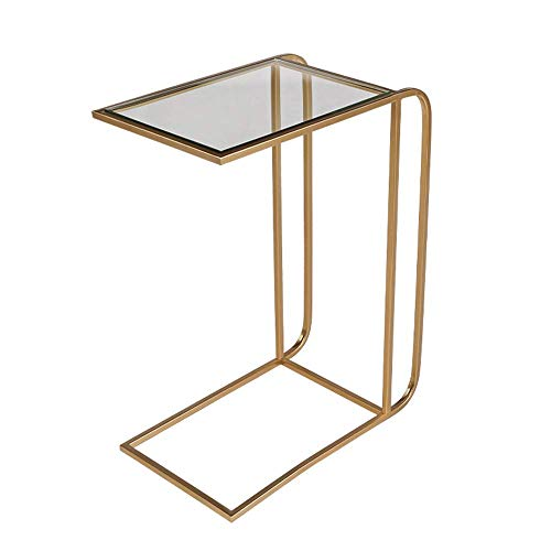 YueQiSong Solid Glass Table/Desk Snack Table Heavy Duty Portable Parlour Bedroom Sofa Side Table End Table Laptop Desk Couch Stand Table, Gold
