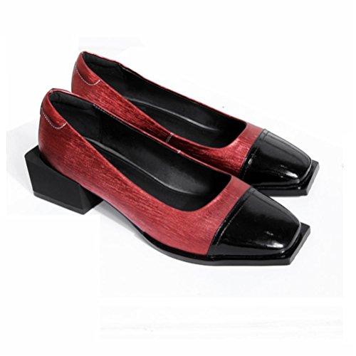 QPYC Pattini di cuoio genuini delle scarpe da donna delle donne delle scarpe da ginnastica Tutti i tipi di cucitura di velluto a strati di primo piano in ruvide con le scarpe da donna quadrate red wine