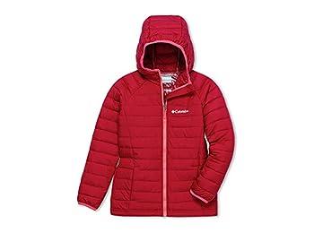 Columbia Girls' Hooded Jacket, Powder Lite, Pomegranate, X-Small