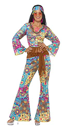 Smiffys Costume Peace and Love hippie, multi couleurs, avec haut, pantalon, bandeau et c