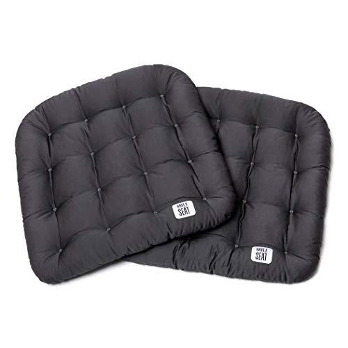 Have a Seat Luxury 2er Set Sitzkissen grau, waschbar im Ganzen bis 95°C, Outdoor/Indoor, weich + robust, Pflegeleicht, Gartenstuhl, Trockner geeignet-Premium Qualität-Farbe wählbar