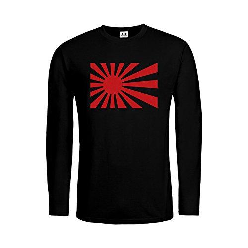 dress-puntos Kids Kinder Langarm T-Shirt Japan Flag Nippon 20drpt15-ktls00448-28 Textil black / Motiv rot Gr. (Black Flag Zu Kostüme)