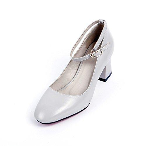 Talons fashion Lady le printemps/Version coréenne d'épaisseur avec une tête carrée boucle chaussures/Joker avec chaussures professionnelles A