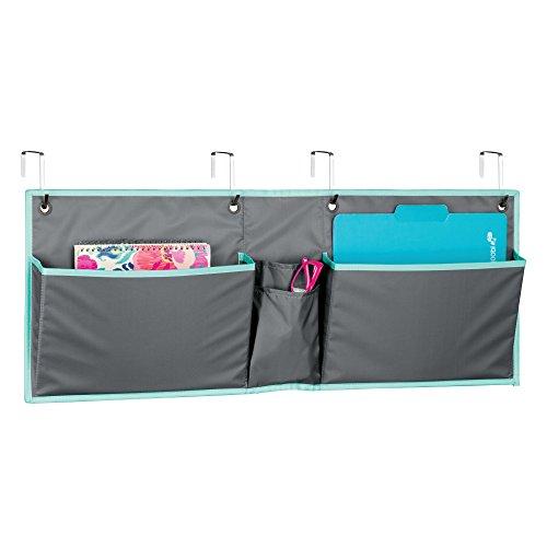 Mdesign portaoggetti da appendere alla porta – pratico organizer da parete per ufficio – portaoggetti in stoffa e metallo con 3 grandi tasche – grigio/verde acqua