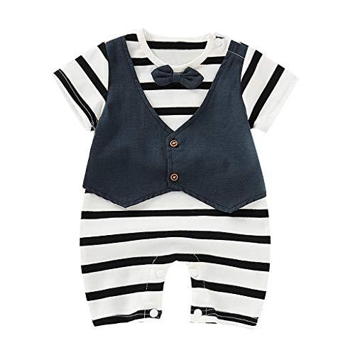 Butterfly Bio-kinder-t-shirt (DIASTR Sommer Kinder Kleidung Jungen Baby Short Sleeved Butterfly Knot Stripe Fake Zwei Gentlemen's Clothes (0-18monat))