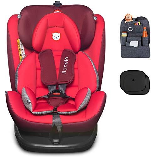 Auto-Kindersitz LIONELO BASTIAAN ISOFIX 0-36 kg 360° Red-Black + Organizer + Sonnenblenden