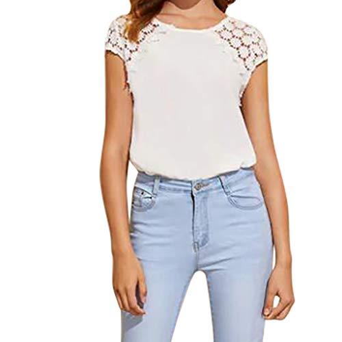 Damen Frühling und Sommer Tops,Rifuli® Mode Spitze Oansatz Kurzarm T-Shirt Tops Aushöhlen Bluse Kapuzenpullover T-Shirts Bekleidung Tops Blusen