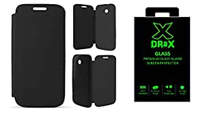 DRaX HTC Desire 620 Flip Cover + Tempered Glass COMBO