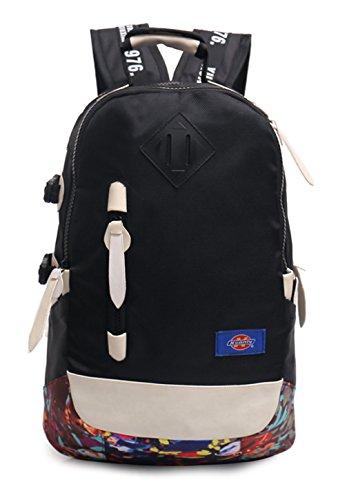 Nylon neuer Stil Schulrucksäcke/Rucksack Damen/Mädchen Vintage Schule Rucksäcke mit Moderner Streifen für Teens Jungen Studenten Grau Keshi 06WZb86