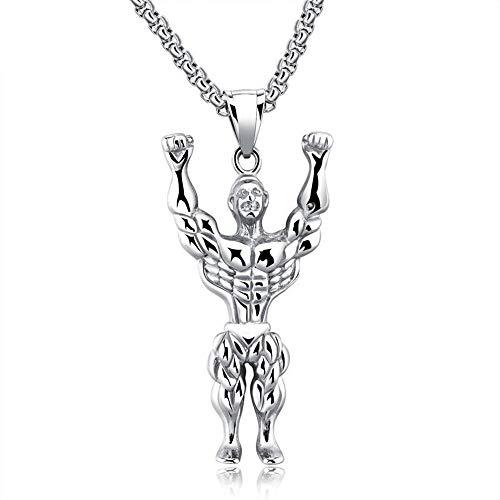 sönlichkeit Titan Stahl Muskel männlich Halskette Bodybuilder Sport Fitness Anhänger Anhänger Zubehör ()