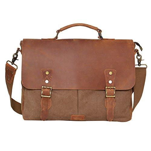 Umhängetasche Leder Retro Weinlese-Segeltuch-Einkaufstasche Aktenkoffer-Laptoptasche für 15.6 Zoll Laptop (Kaffee) (- Grain-leder-aktentaschen)
