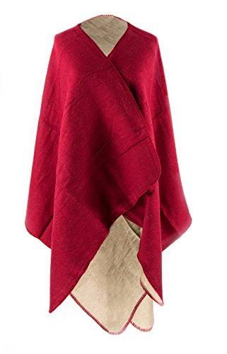 MANUMAR Ponchos für Damen | Cape in rot beige | Überwurf Cape | Umhang | Wendeponcho Perfektes Herbst/Frühling / Winter Accessoire |