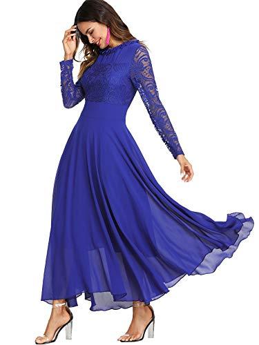 (DIDK Damen Maxikleider Langarm Spitzen Plissee Brautjungfernkleid Kleider A Linie Kleid Stehkragen Ballonkleid Hoher Taille Blau XXL)