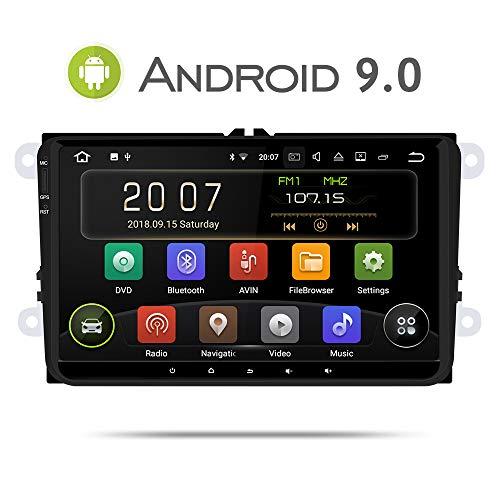 Aumume Android 9.0 Autoradio für VW Golf Passat Polo Tiguan Jetta Skoda Fabia Yeti Seat mit Navi 9 Zoll Bildschirm Unterstützt Mirrorlink Carplay Bluetooth DAB+