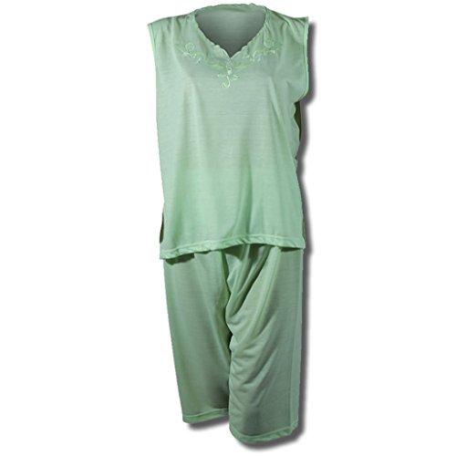Shorty femme schlafshorty 2–haut sans manches avec fleurs en 8 couleurs Vert - Lindgrün