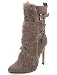Amazon Botas De Zapatos Conejo Piel Y Mujer es Para rEIwqUr