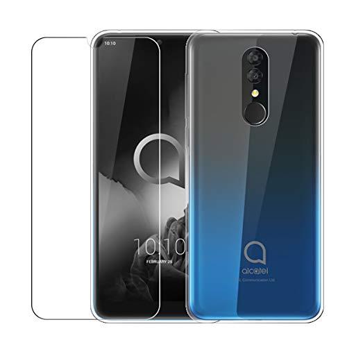 LJSM Hülle für Alcatel 3 2019 Transparent + Panzerglas Bildschirmschutzfolie Schutzfolie - Weich Silikon Schutzhülle Crystal Flexibel TPU Tasche Case für Alcatel 3 2019 (5.94