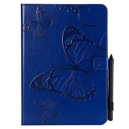 JUFENGYAO Schmetterlings-Blumen-Blumenmuster PU-Leder-Mappen-Stand-Tabletten-Kasten für iPad 9.7 2018 2017 / iPad Air 2 / iPad Air Tablethülle (Farbe : Blau) - Anmerkung Für 3 Handy-kästen