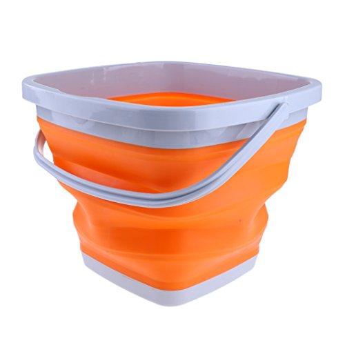 Baoblaze Silikon Eiswürfelbehälter Eisbehälter Silikon Eimer Falteimer - Quadratische Orange, M